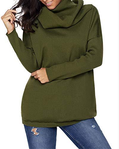 Donna Collo Alto Xl Green A color Lunga Manica Red Army Lunghe Wine Maniche Da Felicigg Size Con Maglione TFxq5w5v