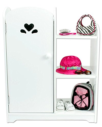 18 Inch Doll Furniture, White Wardrobe with Doll Storage Shelf, Mirror & 3 Hangers! Perfect for Your 18 Inch American Girl Doll, Clothes and More! White Wardrobe w/Storage Shelf (Girls Furniture Shelf)