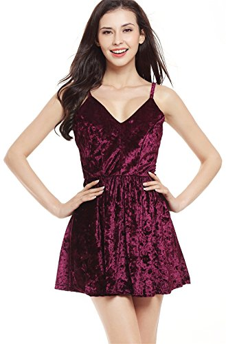 Sexy Sleeveless Spaghetti Strap Deep V Neck Pleated Velvet Mini A-Line Dress Burgundy XL A-line Spaghetti Straps Mini