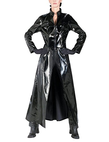 ThinkMax Unisex PVC Leather Matrix Coat Sexy Reloaded Trinity Reloaded Long Bodysuit Halloween Cosplay Adult Costume (Happy Halloween Pole Dance)