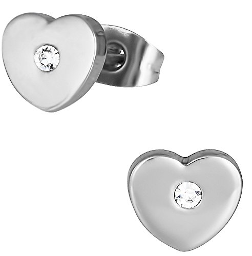 Stainless Steel CZ Heart Stud Earrings for Kids