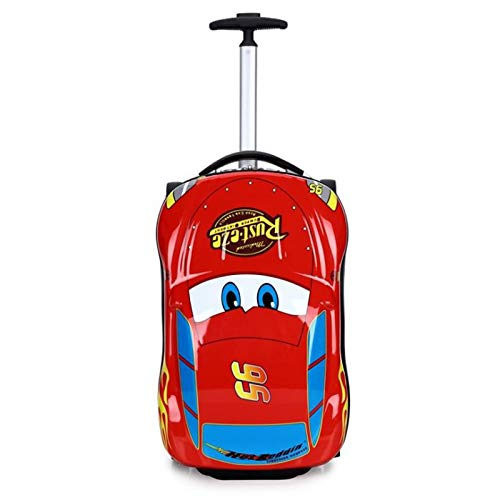 - Ly-lgb Children's Trolley case Cartoon car Trunk can Mount suitcases McQueen Bumblebee Primary School Trolley Bag (Color : Red)