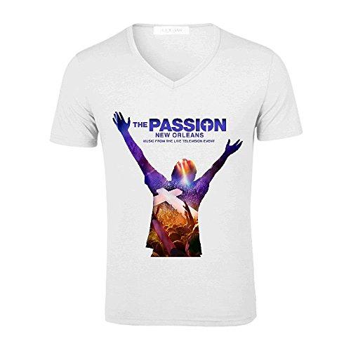 Passion New Orleans Men V Neck Graphict Shirt White