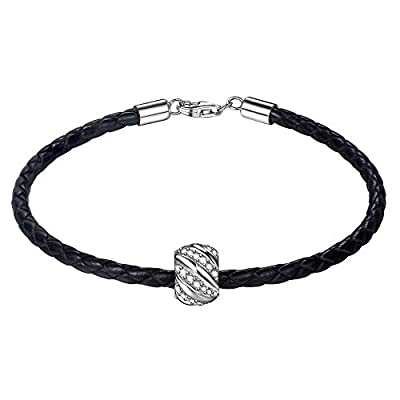 """Hot ZENI Leather Woven Bracelet 925 Sterling Silver 3A Zirconia """"Shining Galaxy"""" Charm Bead 7.5 Inches Black Women and Men Couple Bracelet♥Mother's Day Gifts♥ supplier"""
