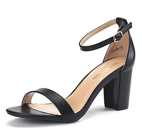 DREAM PAIRS CHUNK Women's Evening Dress Low Chunky Heel Open Toe Ankle Strap Stiletto Wedding Pumps Sandals Black-PU Size - Platform Black Toe Open