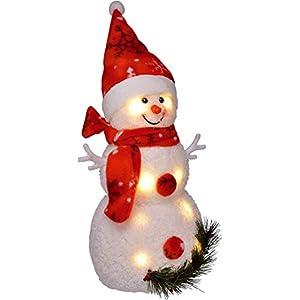 Bambelaa! Pupazzo di neve con luce LED, rosso, decorazione natalizia illuminato, 42 cm, funzionamento a batteria 10 spesavip
