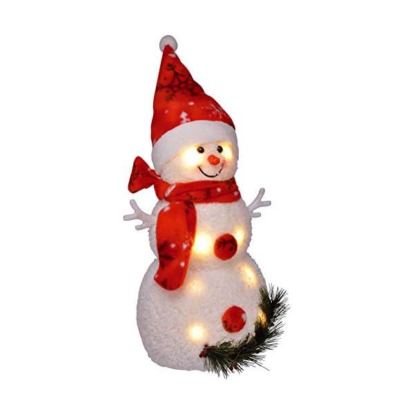 Bambelaa! Pupazzo di neve con luce LED, rosso, decorazione natalizia illuminato, 42 cm, funzionamento a batteria 1 spesavip