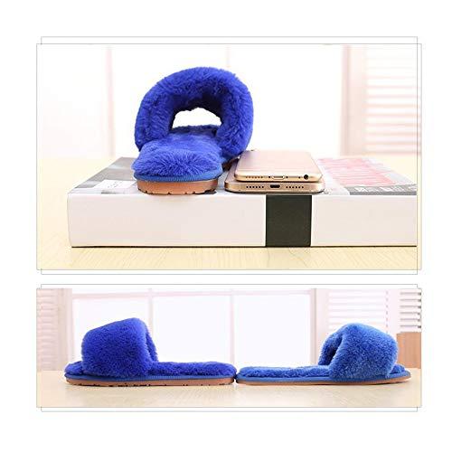 blu Lana Cotone confortevole Fodera Wxmddn pantofole Blu Donna Peluche 24 pantofole 23cm Antiscivolo Ciabatte Zaffiro Cm Invernali Interno Da In Suola FxcqwZr7F