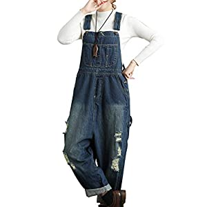 Flygo Women's Loose Baggy Cotton Wide Leg Drop Crotch Cropped Jumpsuit Rompers Overalls
