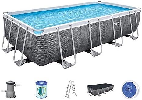 Piscina de jardín rectangular 488 x 244 x 122 cm – Incluye escalera + bomba + filtro + cubierta: Amazon.es: Bricolaje y herramientas