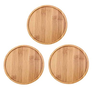OYSIR 3 Pack Bamboo Plant Saucer, 6 inch Succulent Cactus Planter Pot Tray Round Plant Pot Tray for Modern White Ceramic Flower Pot : Garden & Outdoor