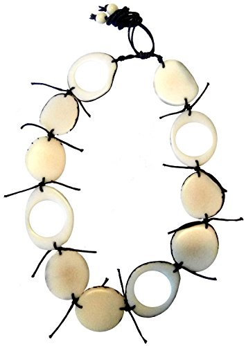 DAGUA Indigenous ivory palm (tagua seed) necklace handmade in Colombia undyed vegan cruelty free (Hole in the moon)