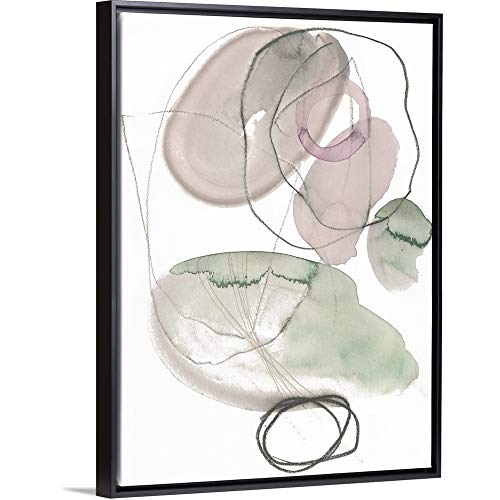 (Sea Glass Stack III Black Floating Frame Canvas Art,)