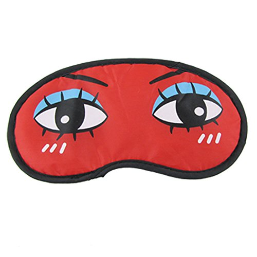 Black Reverse Side Cartoon Travel Sleeping Eye Mask Shade Cover Red (Red Eye Mask)