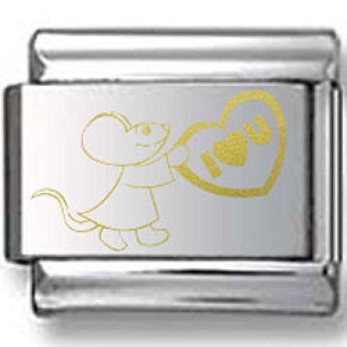 Mouse Love Gold Laser Italian Charm
