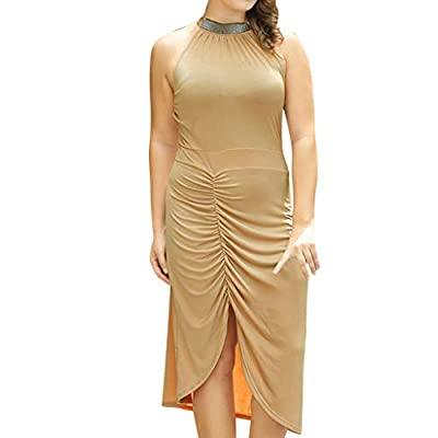 Women's Plus Size Sequin Solid Round Neck Sleeveless Split Lace up Bodycon Dress