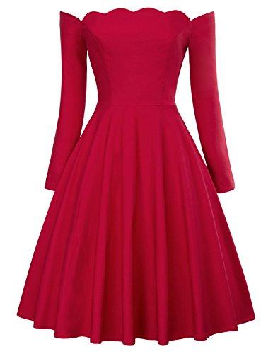 Women's Vintage Dress Off The Shoulder Long Sleeve Cocktail Dress Size L Red