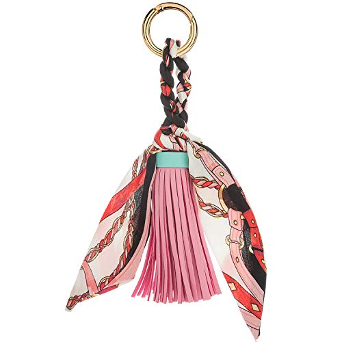 JOUDOO Tassels Keychain with Silk Ribbon for Handbag Purse Backpack Phone Hanging Pendant Keyring GJ021 (pink)