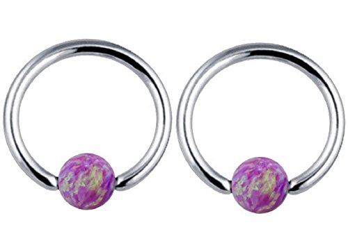 Captive Bead Ring 16g 5/16 Inch Nipplerings Opal Women Hoop Surgical Steel 1 Pair,CBR Rings (Purple) (16g Captive Ring)