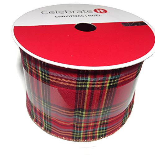 Celebrate It Wired Ribbon Plaid Checkered Christmas Valentines 3.5