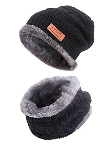 MissShorthair Men Beanie Hat Scarf Set Warm Knit Skull Cap for Winter (8black, Large Size)