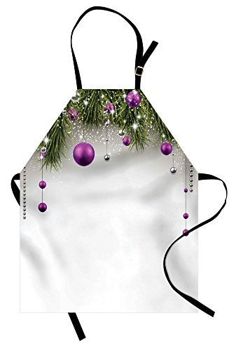 Ambesonne Christmas Apron, Tree with Tinsel and Ball with Present Wrap Ribbon Celebration Picture, Unisex Kitchen Bib Apron with Adjustable Neck for Cooking Baking Gardening, Purple Grey Green