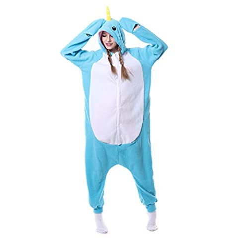 Foresightrade Adults and Children Animal Narwahl Cosplay Costume Pajamas Onesies Sleepwear (S fit for Height 148-158CM, Narwhal light blue)