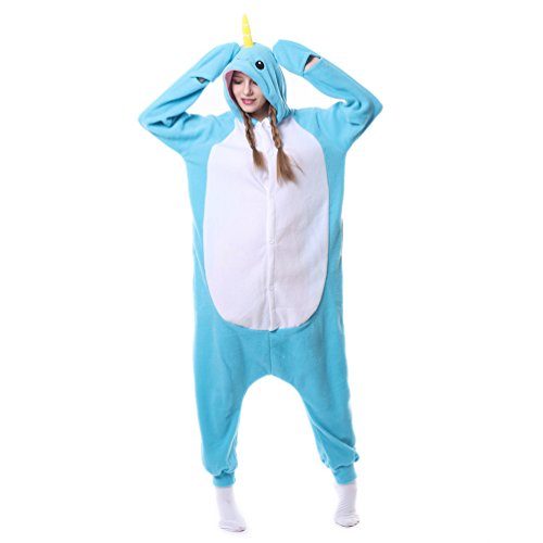 Narwhal Unicorn Costume (Foresightrade Adults and Children Animal Narwahl Star Rainbow Unicorn Cosplay Costume Pajamas Onesies Sleepwear (80# fits for Child height 88-108cm, Narwhal light blue))