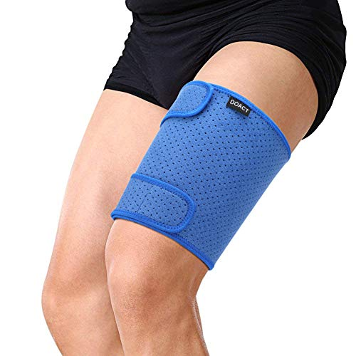 Thigh Brace Wrap Hamstring Support for Quad Groin Pain Relief, Adjustable Compression Sleeve for Pulled Hamstring, Inflammation, Swelling, Bruising, Tendon, Torn Muscle, Blue ()