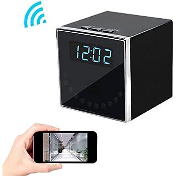 Corprit Wireless Hidden Spy Camera Network IP Nanny Cam HD 1080P WiFi Home Security Camera Black Cube Table Alarm Clock Surveillance Mini DVR