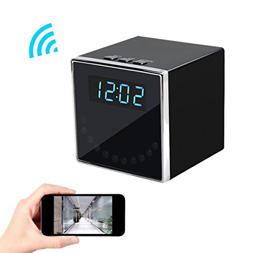 Corprit Wireless Hidden Spy Camera Network IP Nanny Cam HD 1080P WiFi Home Security Camera Black Cube Table Alarm Clock Surveillance Mini DVR
