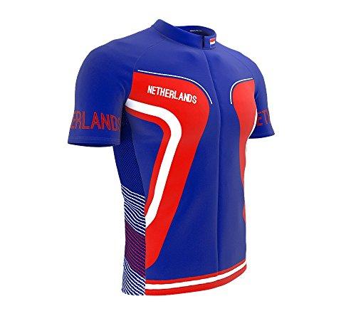 Netherlands Full Zipper Bike Short Sleeve Cycling Jersey for Men - Size (Netherlands Away Jersey)