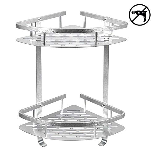 HOMEE Shower Caddy No Drilling Aluminum Wall Mounted Corner Bathroom Shelf 2 Tiers Shelf Organizer Adhesive Storage Basket Gift for Father's Day - Silver