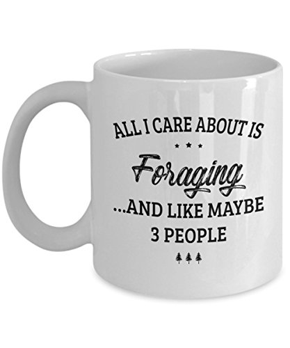 Foraging Mug - I Care And Like Maybe 3 People - Funny Novelty Ceramic Coffee & Tea Cup Cool Gifts for Men or Women with Gift Box ()