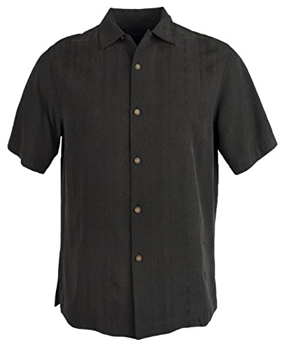 Panel Camp Shirt (Tommy Bahama Men's I Say Merlot Camp Shirt Black Small)