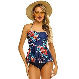 ADOME Women's 2 Pcs Swimsuit Set Vintage Floral Print Ruffle Tankini Top with Triangle Bottom Halter Retro Bathing Suit