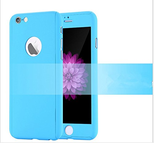 iPhone 6 Plus/6s Plus Full Body Hard Case-Aurora Blue Front and Back Cover with Tempered Glass Screen Protector for iPhone 6 Plus/6s Plus 5.5 Inch