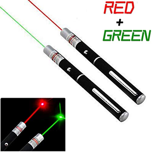 (Laser Pointer High Power 2PCS | Green + Red | Hunting Rifle Scope Sight Laser Pen, Remote Laser Pointer Travel Outdoor Flashlight, LED Interactive Baton Funny Laser Pointer Toys for Cat)