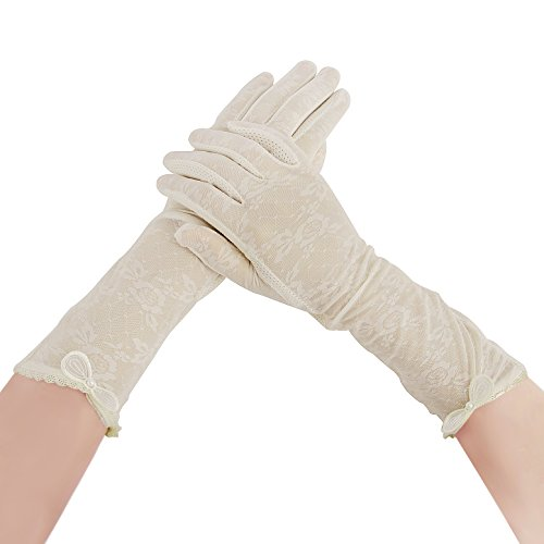 - Summer Sun Protection Gloves for Women Bowknot Lace Arm Sleeve Gloves Non-slip Texting Touchscreen Gloves Sunblock Fishing Hiking Cycling Driving Gloves Wedding Bridal Full Finger Long Gloves (Beige)