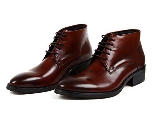 Herren Lederschuhe Herren Lederschuhe High-Top-Schuhe Kurze Martin Army Fashion Tooling Boots Herrenschuhe ( Farbe : Schwarz , größe : EU44/UK8.5 ) Red-brown