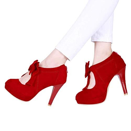 - VANDIMI Womens Bow Round Toe Pumps Small Bowtie Low Cut Vintage Heels Ladies Sexy Zip Platform Shoes