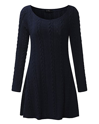 Neck ZANZEA Loose Plus Hem Dress Cable Party Long Size Round Casual Tops Sleeve Lace Women Navy fwfrqg8
