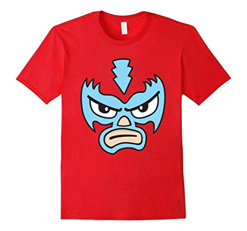Mens Luchador Love Blue Mask Cartoon Face Graphic T-Shirt 2XL (Make Luchador Costume)