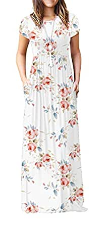 da5f393330b Image Unavailable. Image not available for. Color  Viishow Women s Short  Sleeve Floral Dress Loose Plain Maxi Dresses Casual ...