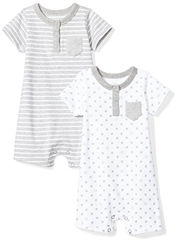 Moon and Back Baby Set of 2 Organic Rompers, Grey Heather, Newborn by Moon and Back