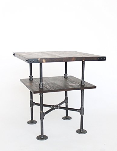 Steel Pipe And Wood End Table 24quot Square Side Industrial