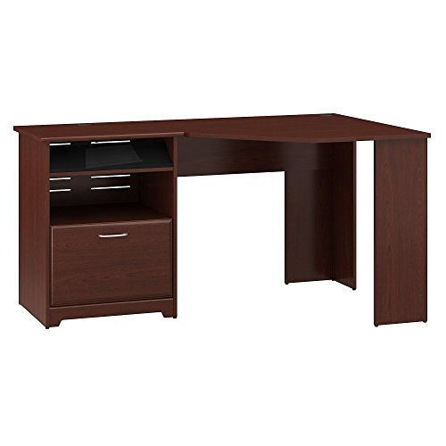 Bush Furniture Cabot Corner Desk with File Drawer in Harvest Cherry