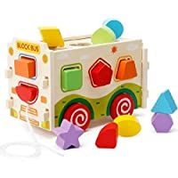 Nabhya -Wooden Assembling Shape Sorter Bus Educational Intellectual Block Toys for Children (Wooden Bus)
