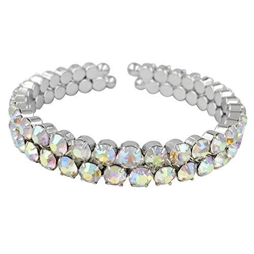 Ab Rhinestone Silver Tone 2 Row Prom Pageant Bling Cuff Bracelet Aurora Borealis