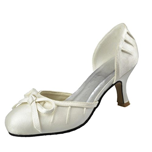 Kevin Fashion MZ1263 Womens Ruched Satin Bridal Wedding Formal Party Evening Prom Pumps Shoes White JtY2Y5o